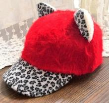 2019 New Arrival Winter Lovely Cat Ears Leopard Sunhat Baseball Cap Cartoon Sunshade