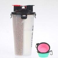 Portable Dual Purpose Dog Water Bowl Food Storage Bottle PP Travel Bowl Outdoor Feeder Dog Dish