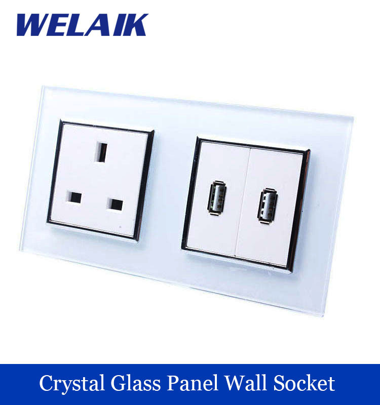 WELAIK  Glass Panel Wall British Standard USB Socket Wall Outlet White Black UK power outlet AC110~250V A28U82USW/B  цены