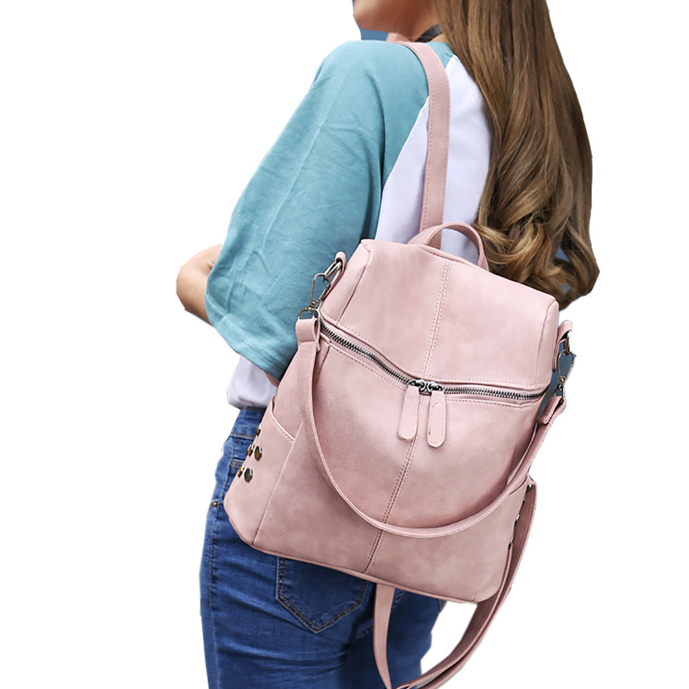 4ce253db81 Aelicy Simple Style Backpack Women PU Leather Backpacks For Teenage Girls  School Bags Fashion Vintage Solid