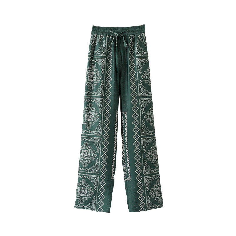 Women Print   Wide     Leg     Pant   Elastic Waist Loose Casual   Pant   Trousers