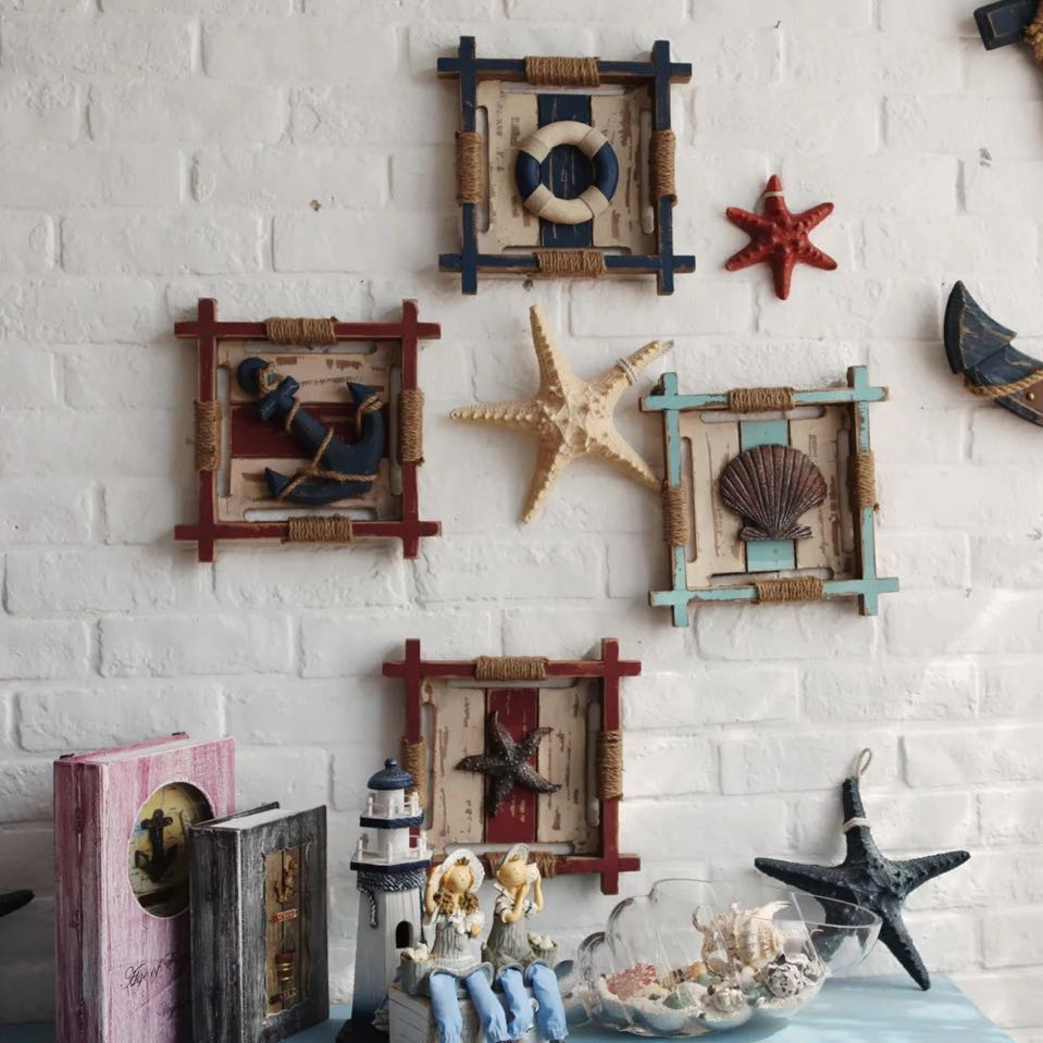 3d mediterranean wood anchor wall hangings home nautical for Home decor items on sale