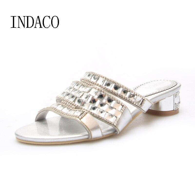 Rhinestone Plata Zapatillas de cuero Mujer Verano Zapatos Tacones gruesos Slip On Silver Sandale Femme Talon INDACO