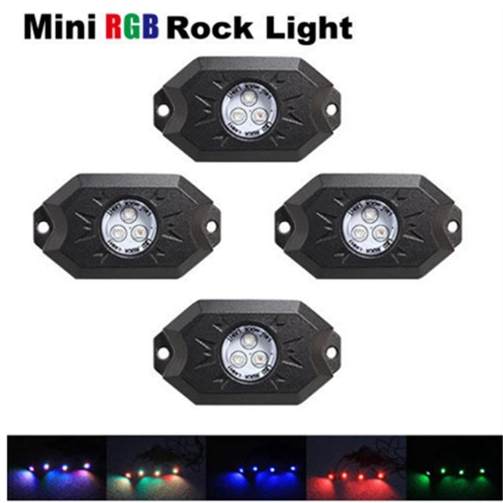 4 pcs X Multi-Color RGB LED Rock Light Kits With Bluetooth Controller ,Timing Function, Music Mode for Cars Truck ATV SUV outdoor led display screen diy kits p13 33 outdoor rgb led module 4 pcs 1 pcs controller 1 pcs jn power supply all cables