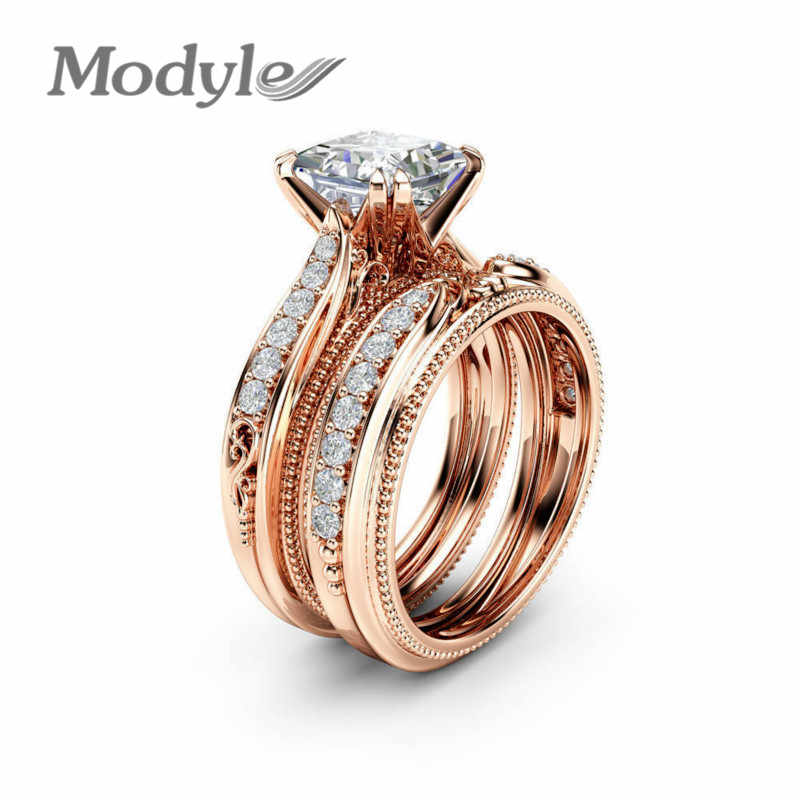 Modyle New Brand 2pc/set AAA Square Zircon Ring Set Rose Gold Color Wedding Ring for Women Gift