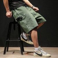 Summer Cargo Loose Shorts 5XL Men Zipper Pocket Street Lay Low Mens Shorts Tech Wear Short Masculina Academia Hip Hop Shorts