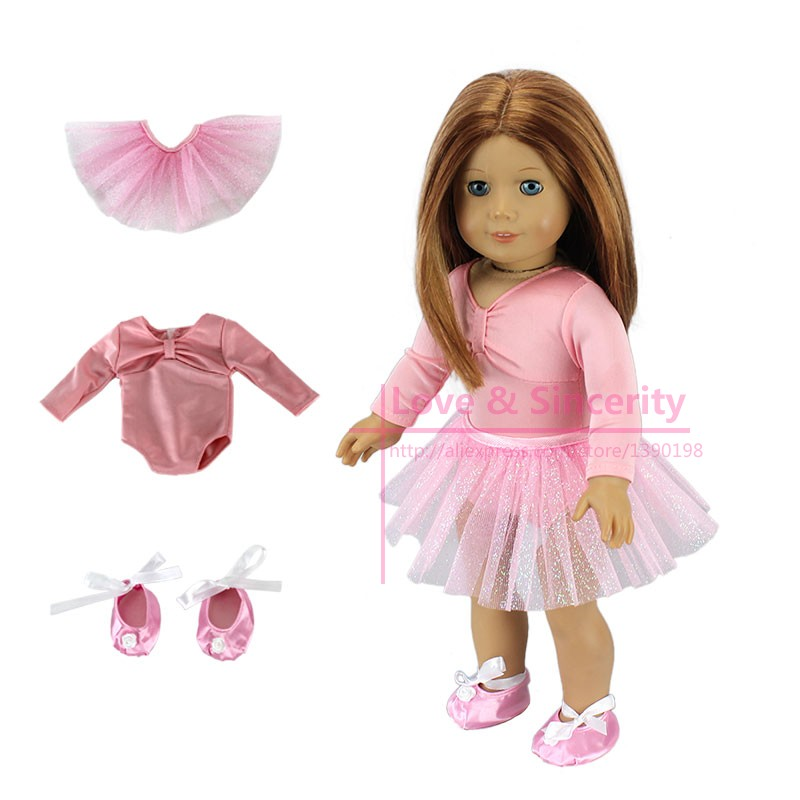 3pcs In 1 Dance Suit Fit For American Girl font b Doll b font Dress Clothes