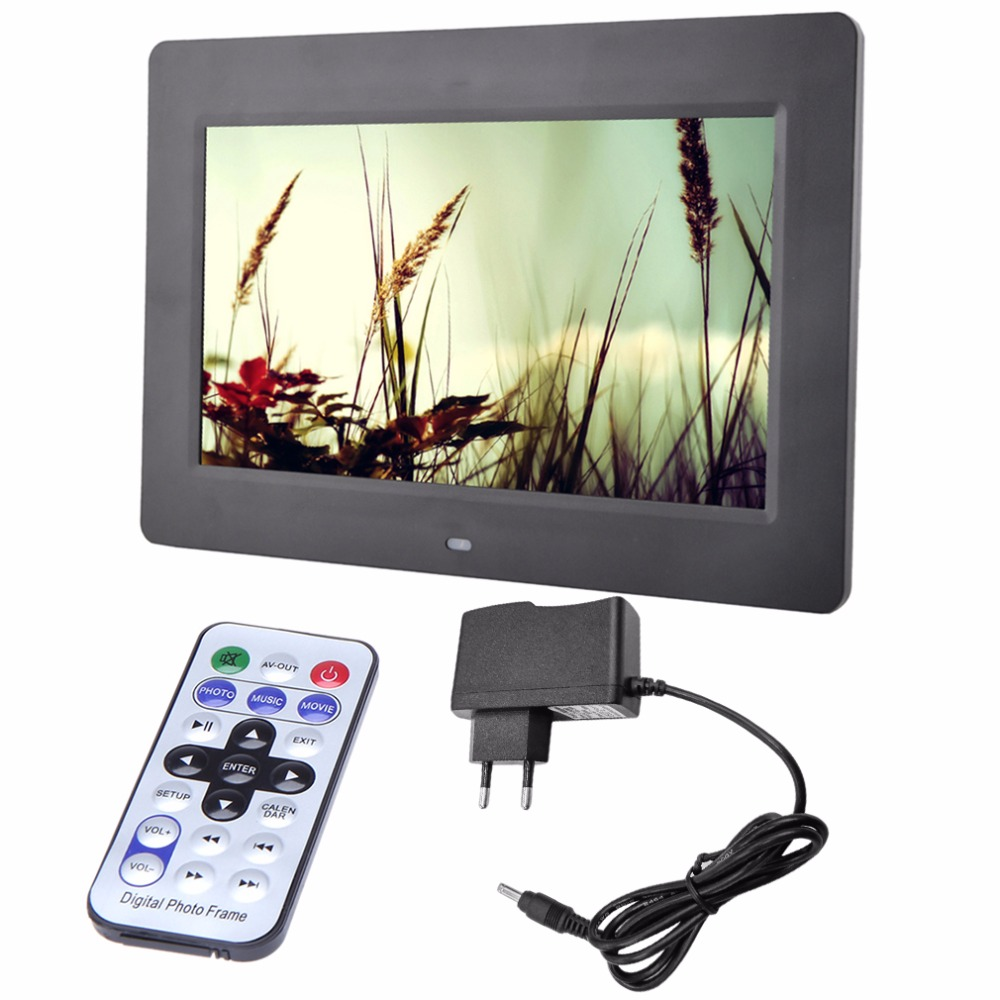 HD ЖК-дисплей цифровой фоторамки тревоги видеоплеерам + пульт будильники MP3 MP4 видеопроирыватель цифровая фоторамка США Plug