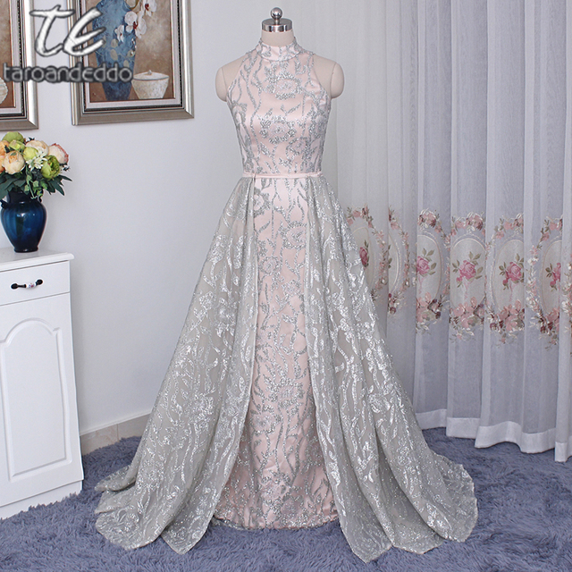 95599040b467a Stand Collar Sleeveless Silver Sequin Nude Saudi Arabia Style Prom Dress  with Detachable Skirt Plus Size Evening Gowns