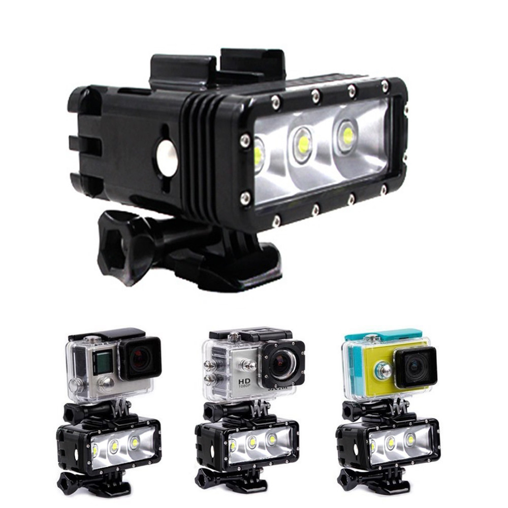 ФОТО Dual Battery 30M Underwater Waterproof Dimmable LED Flash Light For GoPro Hero 1/2/3/3+/4 for Xiaoyi