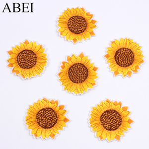 10pcs/lot Embroidered Sunflower Sticker Iron On Sew On Clothes Patch DIY Jeans Coats Bags Appliques Handmade flower Shirt badge(China)