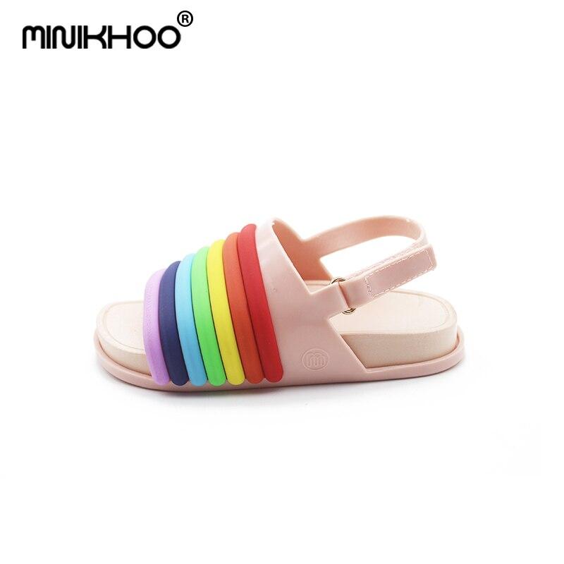 Mini Melissa 2018 New Rainbow Stripes Jelly Sandals Cute Girl Shoes Non  slip Girl Beach Sandals Melissa Baby Jelly Sandals-in Sandals from Mother    Kids on ... dd8e83d929cd