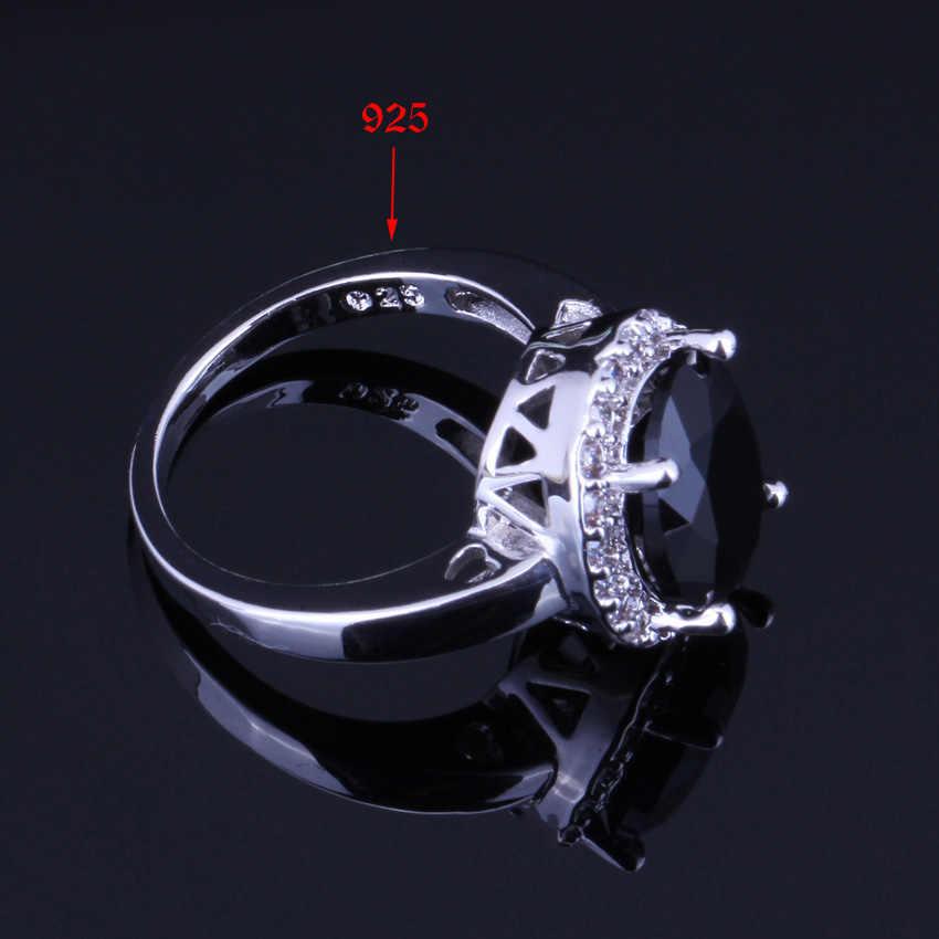 ดูดีสีดำรูปไข่ Cubic Zirconia สีขาว CZ 925 เงินสเตอร์ลิงชุดเครื่องประดับสำหรับต่างหูแหวนจี้แหวน v0036