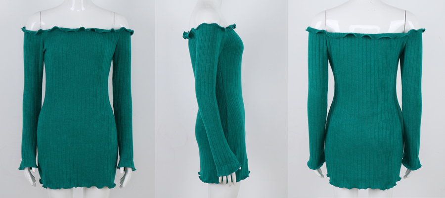 HTB1nzI4anZRMeJjSsppq6xrEpXa5 - FREE SHIPPING Women Sexy Off Shoulder  Bodycon Dress Knitted Elastic Sweater JKP304