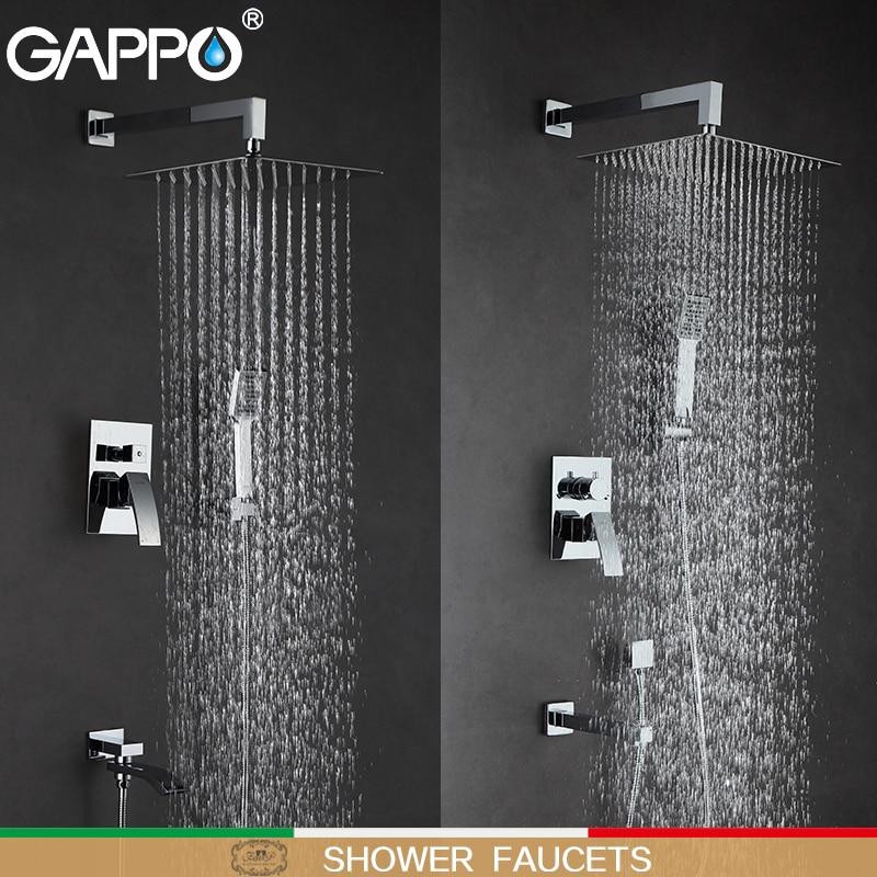 GAPPO Torneiras Chuveiro do banheiro misturador torneira da banheira torneiras chuveiro de chuva set montado na parede sistema de chuveiro torneira do chuveiro