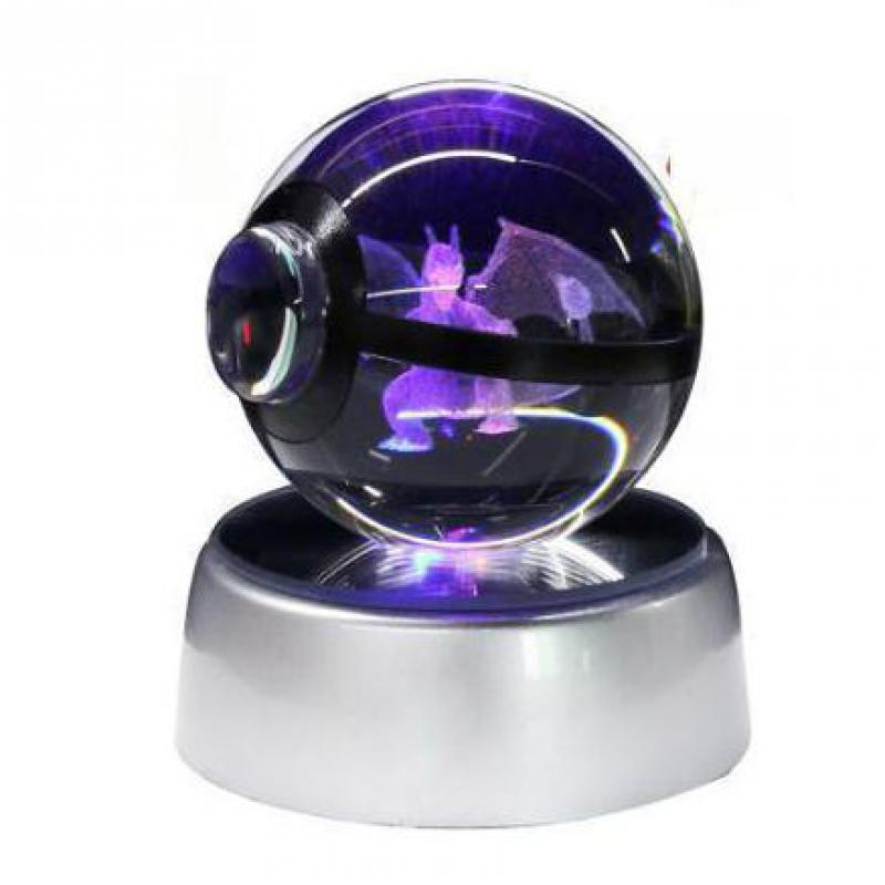 Super Dragon Pokemon Crystal Transparent K9 3D Night Lamp 5cm Glass Ball Pokemon Night Lights Toy For Decorative Gifts