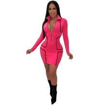 Women Zipper Turn-Down Collar Sexy Mini Dress Office Lady Outfit Long Sleeve Elegant Party Sheath Mini Dresses Vintage Vestidos long sleeve mini sheath dress
