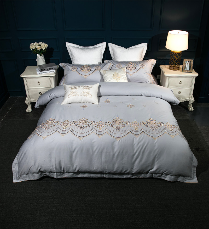 2017 Embroided 60s 100 Cotton Bedding Sets Queen King Size Bedlinen Quilt Covet Set Grey Color