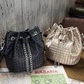 Inleela new weave saco crossbody cadeias de moda balde bolsa de ombro mulheres meninas diário presente para sua irmã