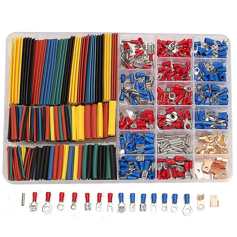 328pcs Heat Shrink Tubing Tube + 350pcs Spade Terminals Car Electrical Wire Set with Box retardant heat shrink tubing shrinkable tube diameter cables 120 roll sale