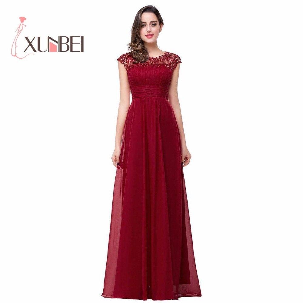 Robe demoiselle d\'honneur A Line Burgundy Chiffon Bridesmaid Dresses ...