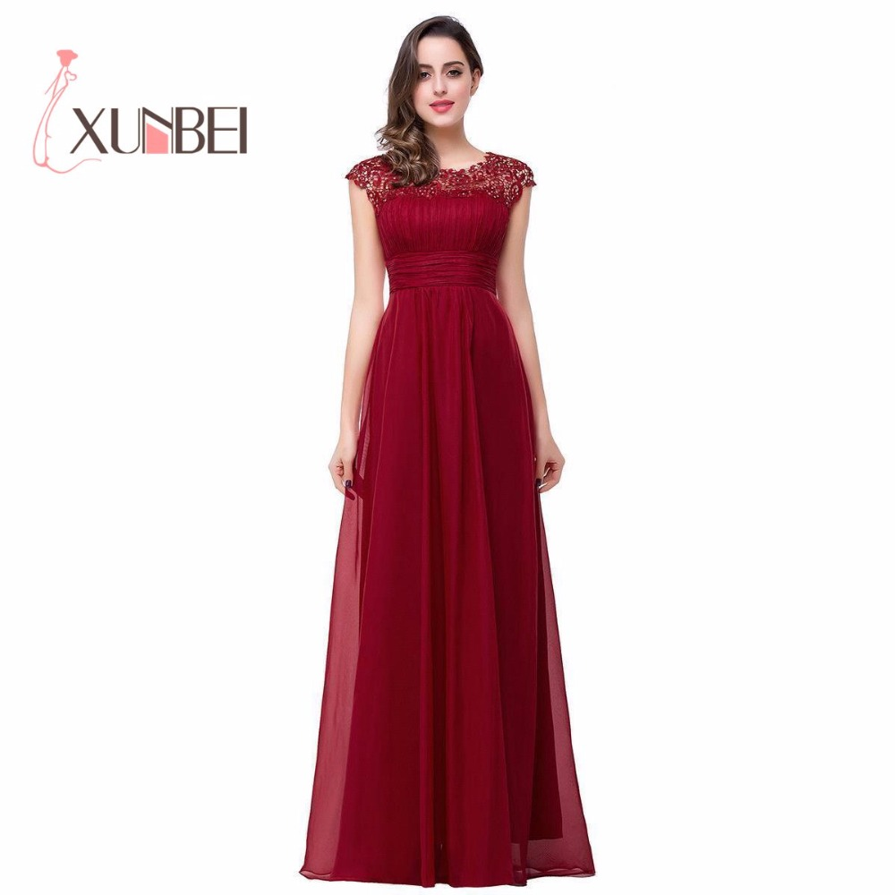 Robe De Soiree Longue A Line Burgundy Cheap   Bridesmaid     Dresses   Long 2018 Beaded Apppliques Sleeveless Prom   Dress   Party Gown