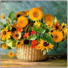 Peter ren Diy Diamond painting cross stitch Full Square drill or Round diamond Mosaic icons embroidery Sunflower basket