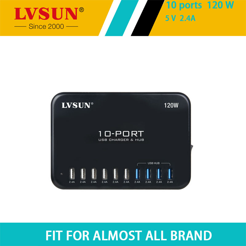 LVSUN 120W 5V 2.4A 10 Port USB Charger&HUB USB 2.0 Chipset with Data Transfer for ipad iphone 7 6s 6 5s 5,galaxy,Nexus,Htc,Moto x dragon solar phone charger 20000mah 5w solar charger for iphone 4s 5s se 6 6s 7 7plus 8 x ipad samsung htc sony lg nokia