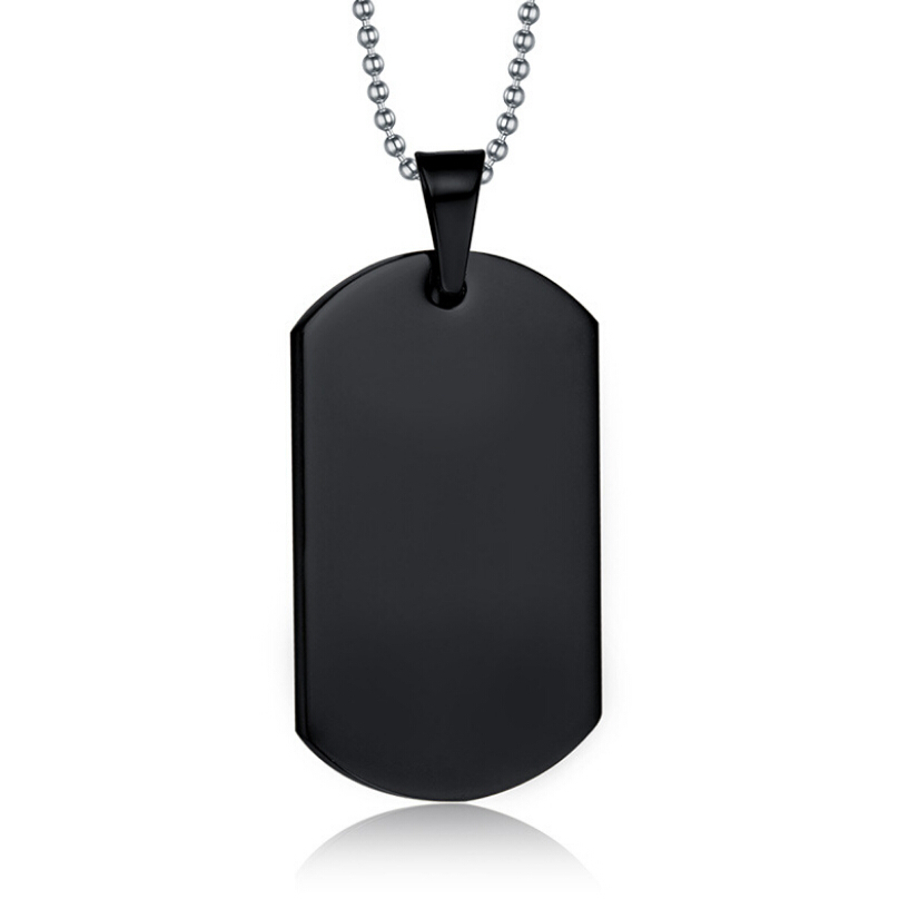 a7a6318aec Large Black Stainless Steel Dog Tag Pendants Husband Wife Friendship Gift