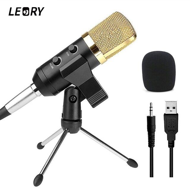 LEORY Professional USB конденсаторный микрофон с креплением для стойки для записи радио Студийный микрофон караоке Microfono для ПК