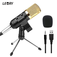 LEORY Professional USB Condenser Microphone With Stand Mount For Recording Radio Studio Microphone Karaoke Microfono For
