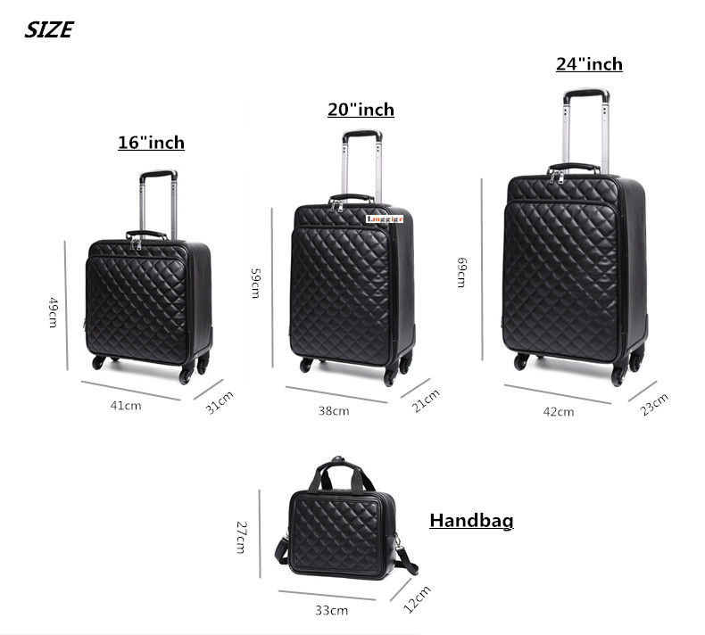 Women s Waterproof PU leather Travel Rolling Luggage Suitcase bag Trolley case set, New 162024 inch Box with Wheel