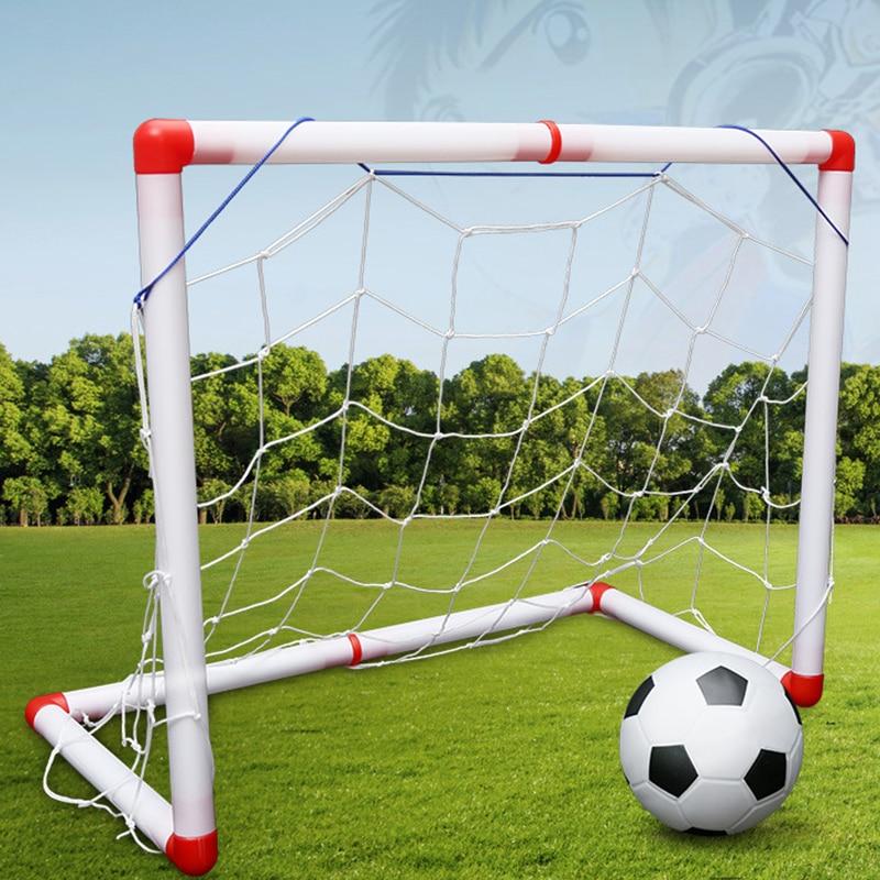 2Pc/Set New DIY Children Sport Portable Children Football Soccer Goal Net With ball Pump Kids mini Football Gate Toy Sport(China)