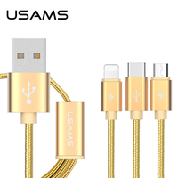 USAMS 3 IN 1 Usb Type C Micro Nylon Usb Cable For Iphone 7 6s Plus