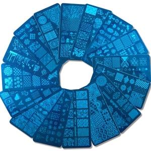 Image 2 - 1 комплект пластины для штамповки ногтей в виде геометрических фигур кружева Животные с губка Стампер скребок Трафареты для лак для ногтей шаблон LA804