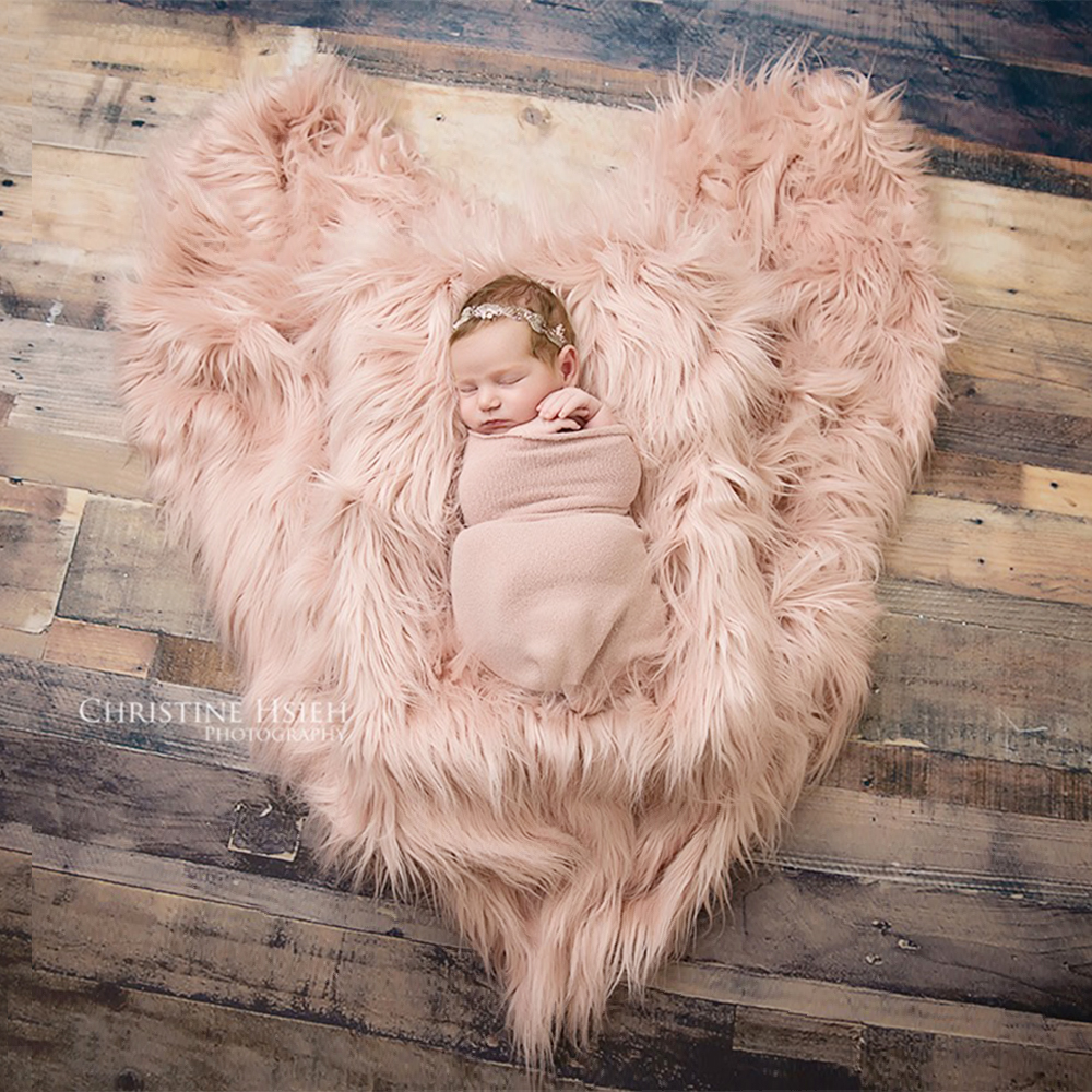 Clearance 75X50cm Newborn Baby Infant Photo Blanket Fake Fur Rug Blanket Plush Photography Background Prop Basket