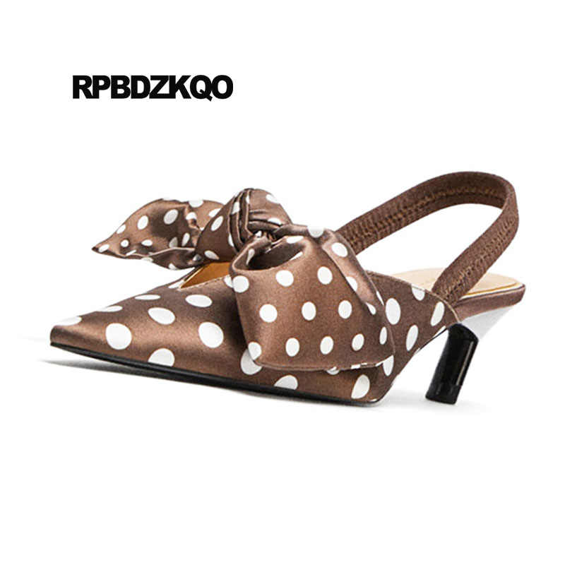848be71fdb3 Slingback Brand Pointed Toe Satin Bow Kawaii Gold Women Party Shoes Polka  Dot Pumps Kitten Novelty Sandals Golden Medium Heels