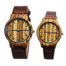 Hot selling Zebra Wooden Watches For Men And Womens Lover Fashion Wristwatch With Genuine Leather Straps