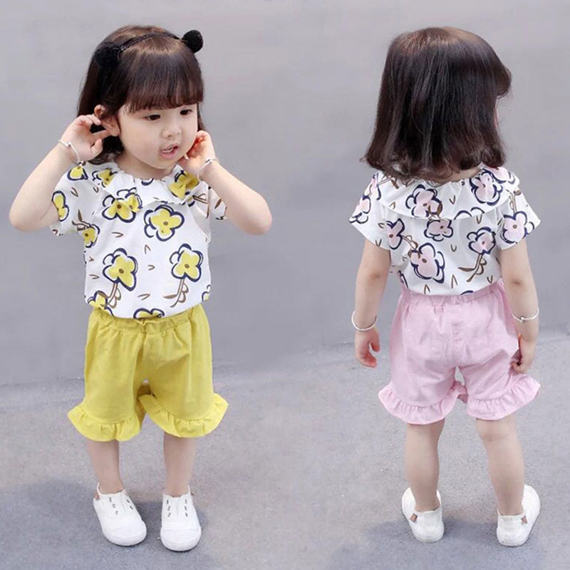 Laced collar Girls Sets 2018 Newborn clothes summer top Girls Clothes baby girl flower top+Shorts 2Pcs Kids Clothing Sets