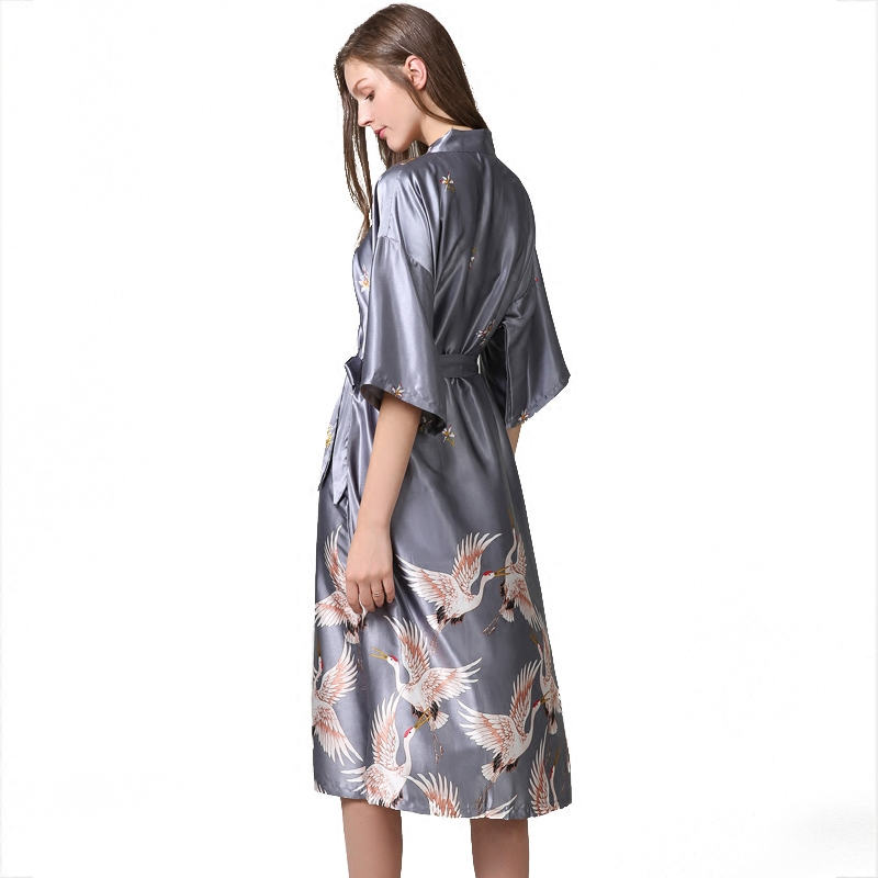 New Butterfly Ladies Cotton Robe Women Summer Casual Home Dress Nightgown Sleepwear Long Bathrobe Elegant Wedding Robesnr128