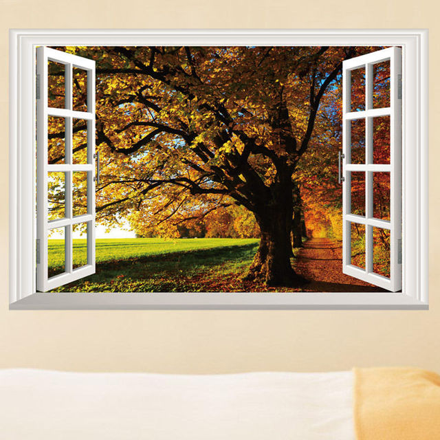 removable fall trees 3d window view scenery wall sticker home decor