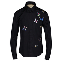 Perfect Tuxedo Shirts Men High Quality Beautiful Embroidery Butterfly Social Camisa Masculina Long Sleeve Fitness Man