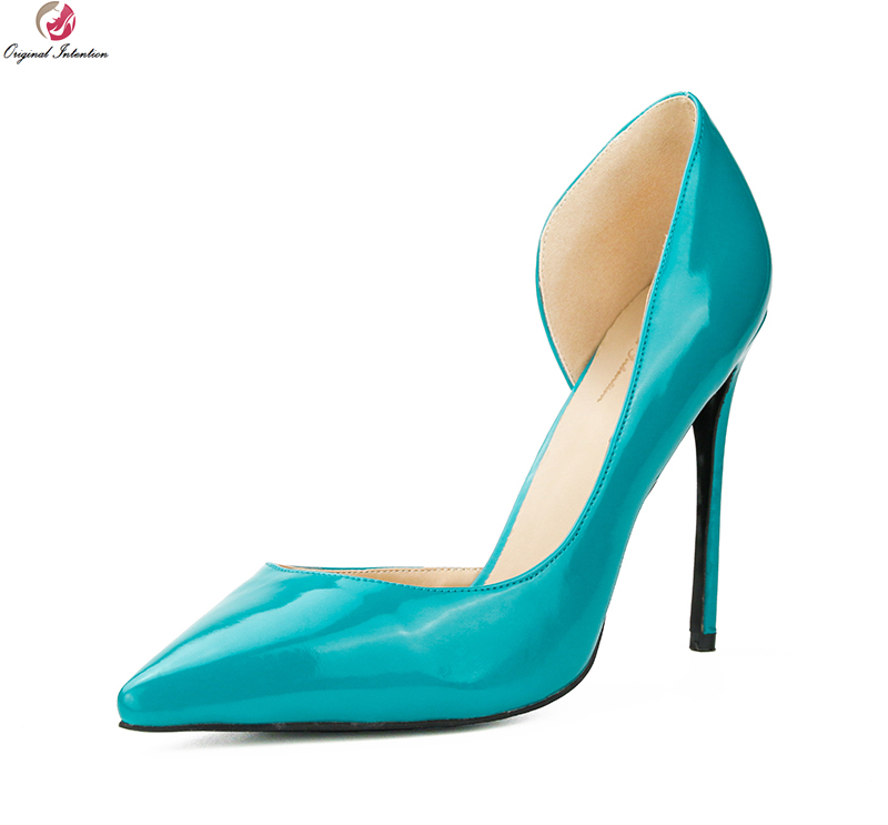 Original Intention New Fashion Women Pumps Nice Patent Leather Pointed Toe Thin High Heels Stylish Shoes Woman Plus US Size 4-15