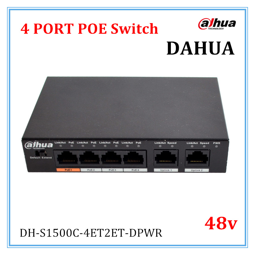 Dahua 4 Ports POE Switch Standard 48v Not burn the machine 250 meters transmit for Security cameras and CCTV ip system