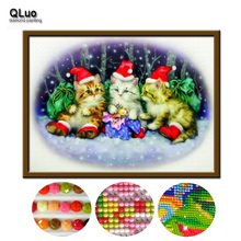 qluo special price 5d diy diamond painting christmas farmhouse decor diamond embroidery christmas cat cross stitch - Animated Christmas Scenes