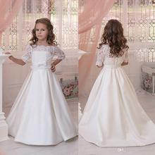 Hot Flower Girls Dresses For Weddings With Jacket Sleeveless Lace Applique Kids Formal Wear Satin Girl's Pageant Gowns FG70