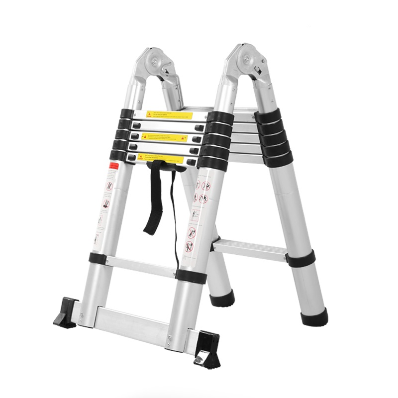 2.8M Fire Use Escape Ladder Collapsible Aluminum Alloy Upright Ladder, Multipurpose Home/Library/Construction Maintenance Ladder