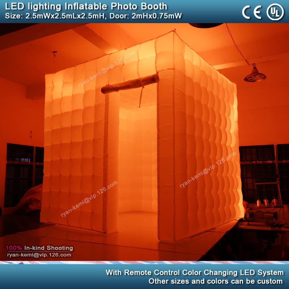 2.5m-8.2ft-inflatable-photo-booth-LED-lighting-portable-inflatable-photo-tent-enclosure-cube-tent-with-blower-orange