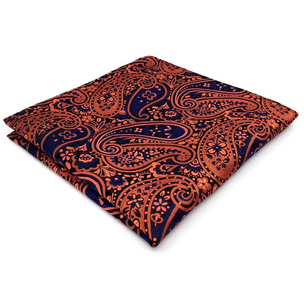 Orange Blue Handkerchief Pocket Square Silk Big Size Paisley Wedding