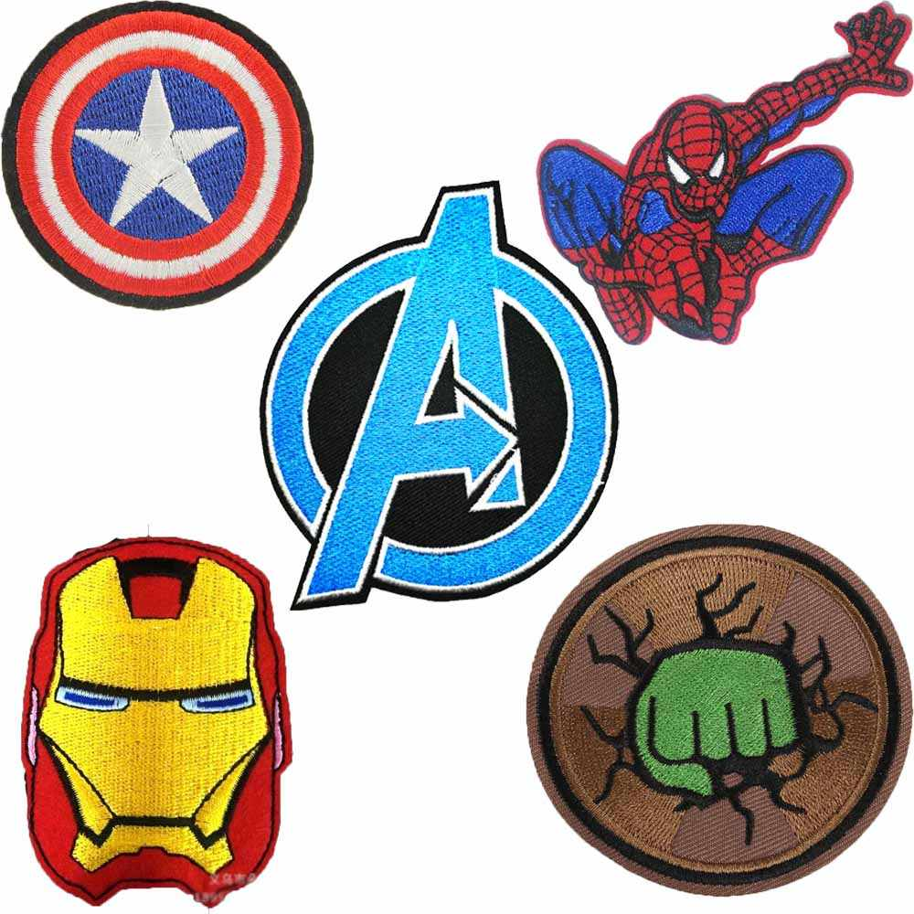 Avengers Deadpool Kids  Hulk Superhero Captain America Iron On Patch Clothes Patch For Clothing Boys Embroidered Patch Clothes